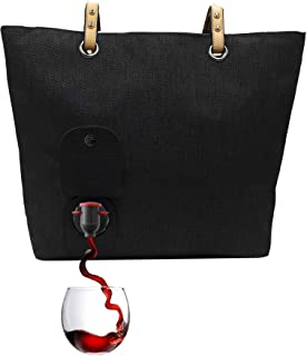 PortoVino City Wine Tote Black - Fashionable Wine Purse with Hidden, Insulated Compartment, Holds 2 Bottles of Wine!