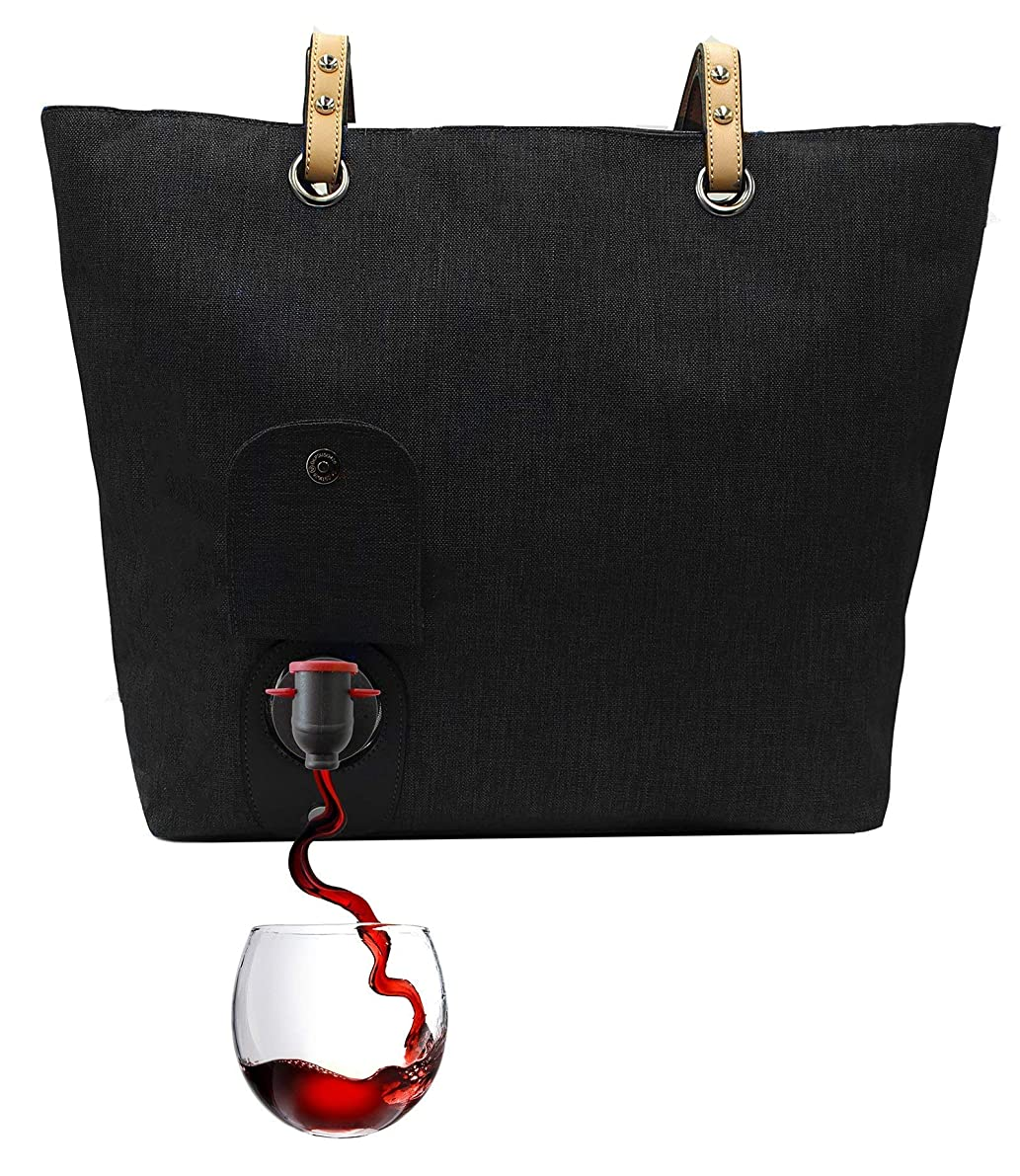 PortoVino City Wine Tote (Black) - Fashionable Wine Purse with Hidden, Insulated Compartment, Holds 2 bottles of Wine!