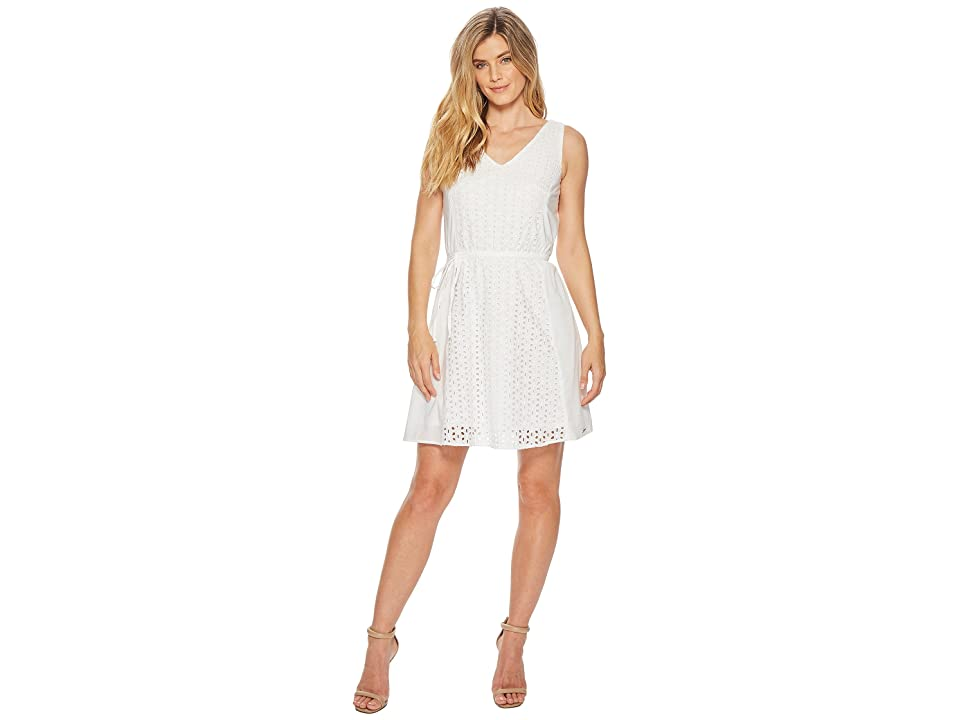 U.S. POLO ASSN. Eyelet Dress with Belt (Optic White) Women
