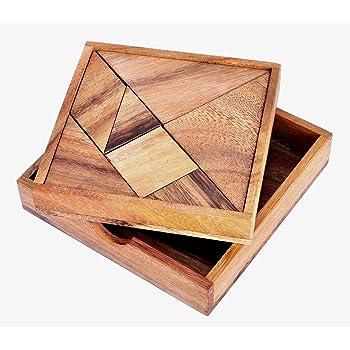 LOGICA GIOCHI Art. Tangram - Rompicapo Geometrico in Legno - Gioco Educativo per 1/2 Giocatori - Scatola Richiudibile (Medio)