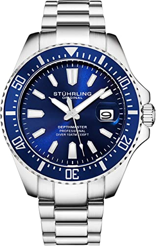 Stuhrling Original Watches for Men - Pro Diver Watch - Sports Watch for Men with Screw Down Crown for 330 Ft. of Water Resistance - Analog Dial, Quartz Movement