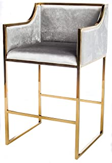 Statements by J J103 Erin Gold Bar Chair, 39 Inch Tall, Gray