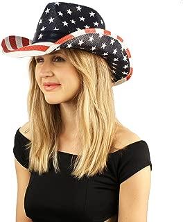 Unisex Painted USA Flag Star Studded Patriotic Cowboy Western Sun Hat M/L 58cm