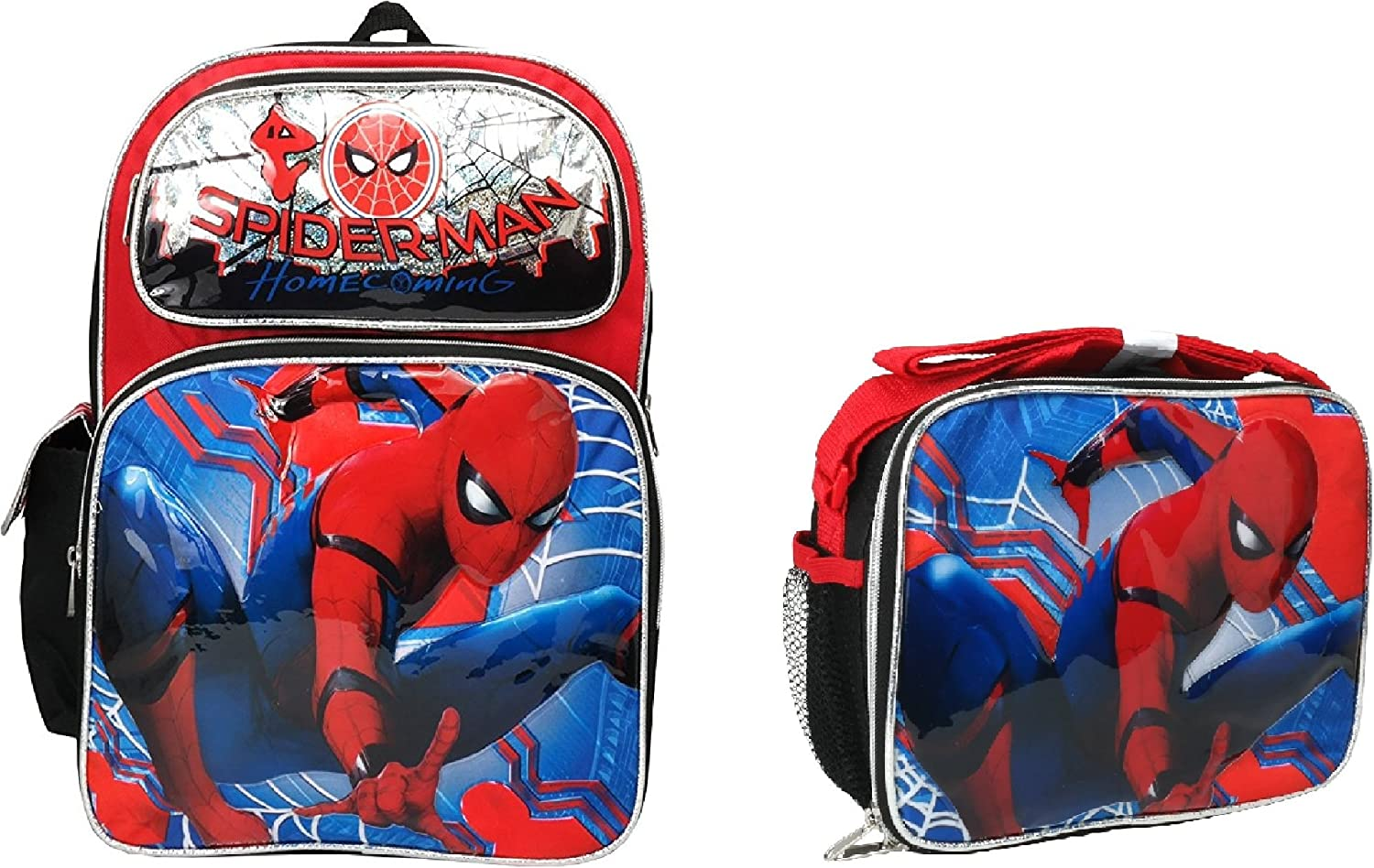 Home Coming Marvel Spiderman Boys 16 Canvas Black School Backpack w Lunch Bag