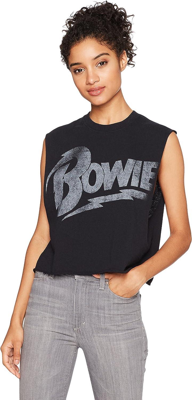 Goodie Two Sleeves Women's David Bowie Distressed Logo Black Tank