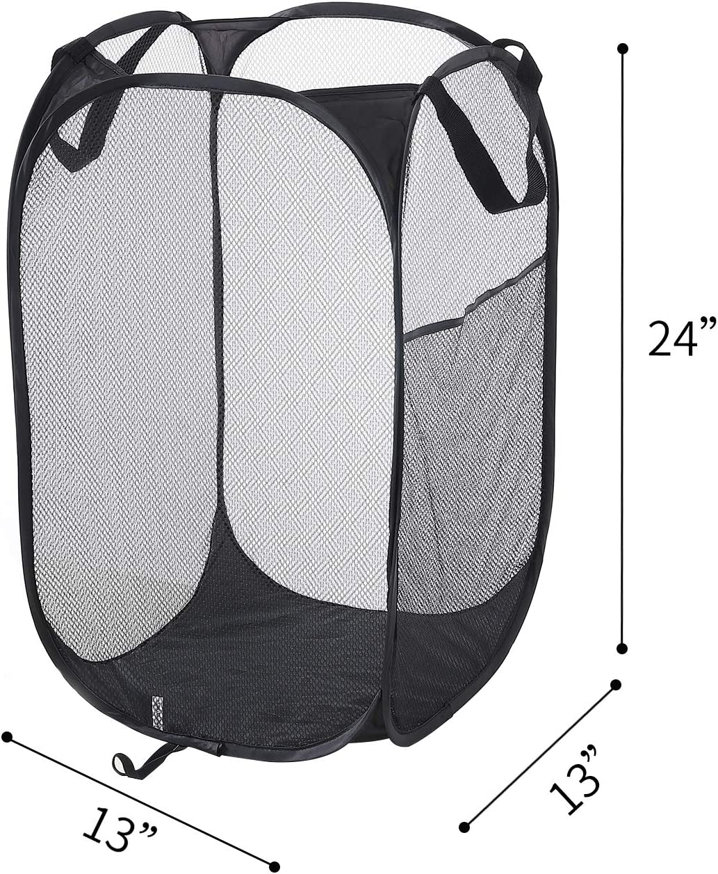 Portable N//A Mesh Laundry PopUp Hamper-Foldable Pop-Up Mesh Hamper with Reinforced Carry Handles Black 2 Pack Collapsible for Storage and Easy to Open