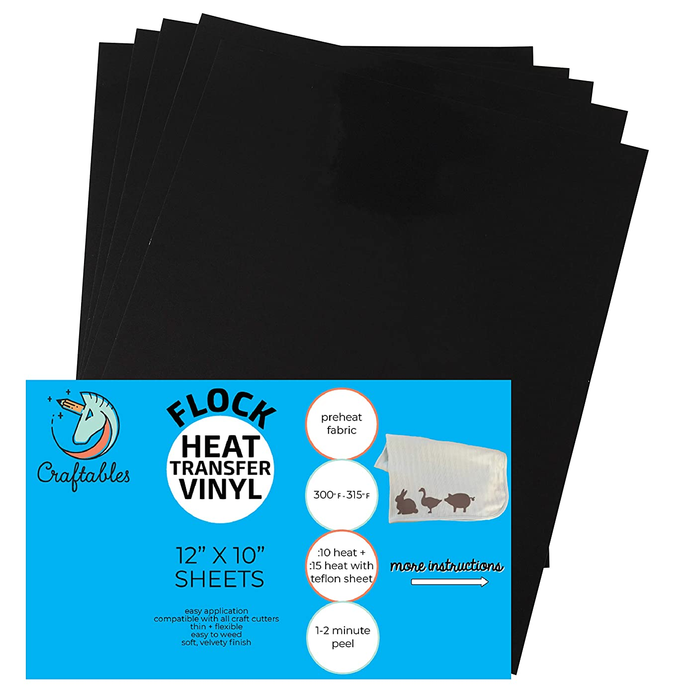 Craftables Black Flocked HTV Craft Vinyl - Flock Heat Transfer Vinyl for Cricut and Silhouette Cameo - 12