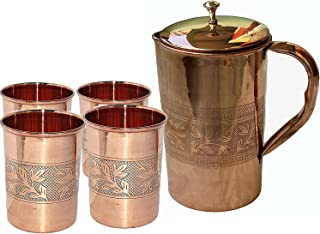 PARIJAT HANDICRAFT Indian Ayurveda Embossed Finished Copper Water Pitcher Copper 4 Glasses Capacity 10 Ounce with 1 Jugs Capacity 54 Ounce Set for Storing Drinking Water Ayurveda