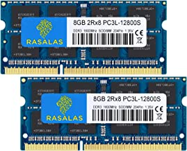 8GB DDR3, DDR3 Ram 16GB Kit (2x8GB) Rasalas PC3L-12800S DDR3l 1600 mhz 2Rx8 PC3 12800S 1.35V 204-Pin CL11 Dual Rank Ram Laptop Chips