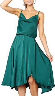 Women's Satin Slip Camisole Dress with Adjustable Spaghetti Straps Elastic Wrist Dresses