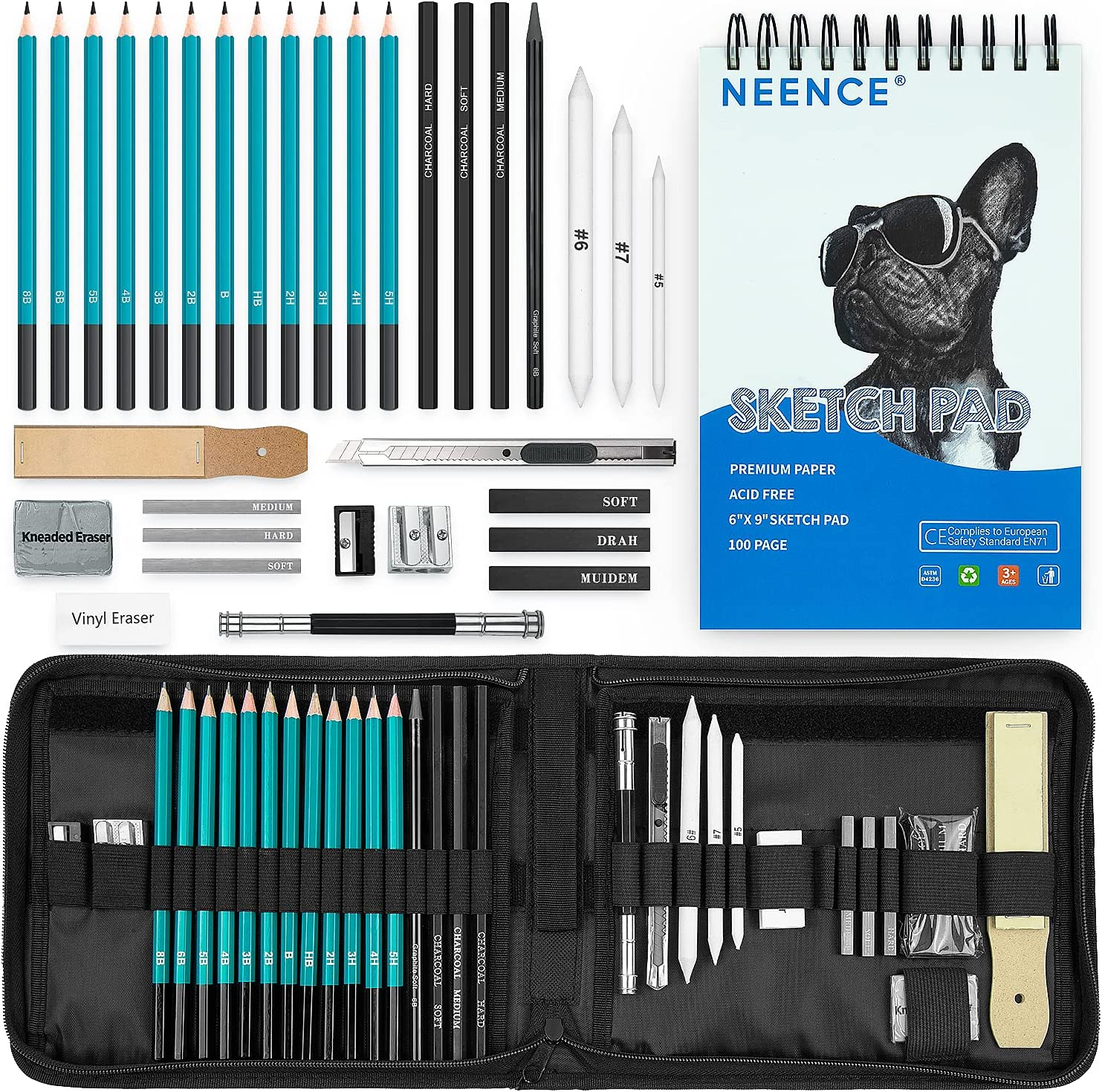 NEENCE Drawing Pencil Set - Sketching, Graphite and Charcoal Pencils Art Kit and Supplies.100 Page Drawing Pad, Kneaded Eraser, Blending Stump. Sketch Pencil for Students Kids Teens and Adults (Green) : Arts, Crafts & Sewing