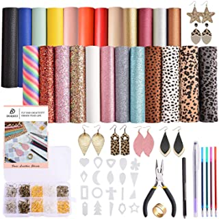 Dorhui Leather Earring Making Kits Include 24 Pieces Litchi and Glitter Faux Leather Sheet, and 180pcs Earring Hooks, 180p...