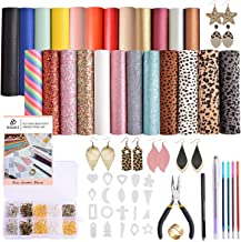 Dorhui Leather Earring Making Kits Include 24 Pieces Litchi and Glitter Faux Leather Sheet, and 180pcs Earring Hooks, 180pcs Jump Rings, Pliers for Earring Making Crafts