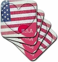 3dRose cst_30472_4 Heart Love USA Flag Art Patriotic 4th of July-Ceramic Tile Coasters, Set of 8