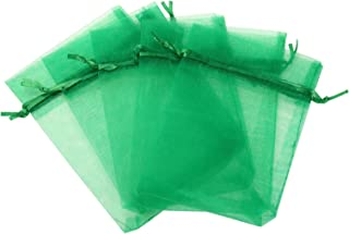 KUPOO Pack of 50PCS 8x12 Inch Organza Drawstring Gift Bag Pouch Wrap for Party/Game/Wedding (Dark Green)