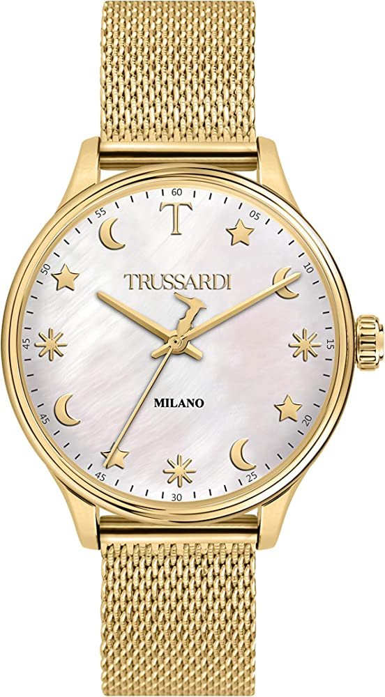 Trussardi orologio per donna, in acciaio inossidabile, pvd giallo,collezione t-complicity R2453130506
