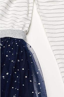 White/Silver/Navy Striped