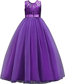 MUABABY Big Girls Lace Bridesmaid Dress Dance Gown A Line Dresses