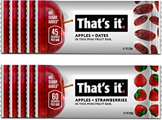 That's it. Mini's-Variety Pack 100% Natural Fruit Bar, High Fiber Vegan, Gluten Free Healthy Snack, Paleo for Children, Adults, Non GMO No Added Sugar, No Preservatives(Date 5 Pack, Strawberry 5 Pack)