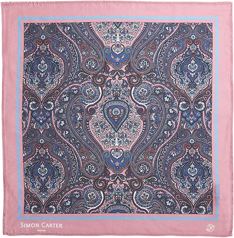 75bcac6ddf83c Simon Carter Mens Framed Paisely Silk Silk Silk Pocket Square - Pink e003f7