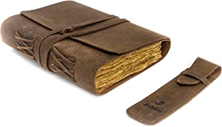 CraftsDoc Leather Journal – Deckle Edge Vintage Journal with Pen Holder – Handmade Leather Bound Journal – Antique Noteboo...