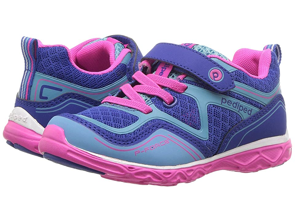 pediped Force Flex (Toddler/Little Kid) (Navy/Fuchsia) Girls Shoes