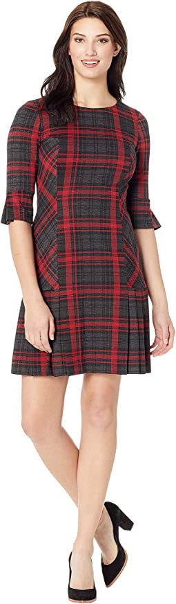 Long Sleeve Pleat Skirt Plaid Dress