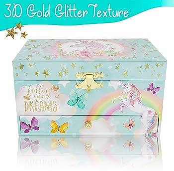 Unicorn Musical Jewelry Box for Girls - Unicorn Jewelry Set Included - 3 Unicorns Gifts for Girls makes ideal Unicorn...