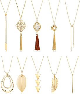 LOLIAS 10PCS Long Pendant Necklace for Women Simple Bar Layer Three Triangle Tassel Y Necklace Set