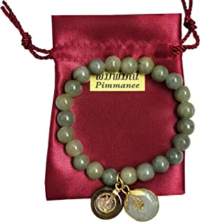 8 mm.Bracelets Natural Green Jade Round Circle Real Bangle for Women Teens Charms with Pendant Jade Donut Round and Coin L...