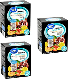 Great Value Energy Variety Pack Drink Mix, 20 count, 1.98 oz ( 3 Boxes - 60 Packets Total )