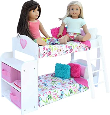 PZAS Toys Doll Bunk Bed - Doll Bunk Bed for 18 Inch Dolls Complete with Linens, Pajamas, Teddy Bear, and Shelves, Compatible