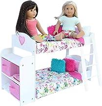 تختخواب Bunk Dolls Toys PZAS - تختخواب بانکی 18 تخته ای با 18 اینچ کامل با ملافه ، لباس خواب ، خرس عروسکی و قفسه ، سازگار با مبلمان و لوازم جانبی عروسک دختر آمریکایی