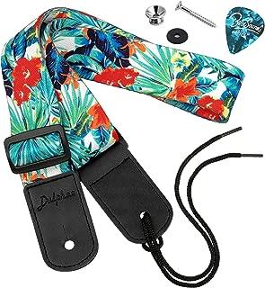 Dulphee Ukulele Strap Hawaiian Style Adjustable Uke Shoulder Strap for Soprano Concert Tenor Baritone Ukulele, Mandolin and Banjo(Flower)