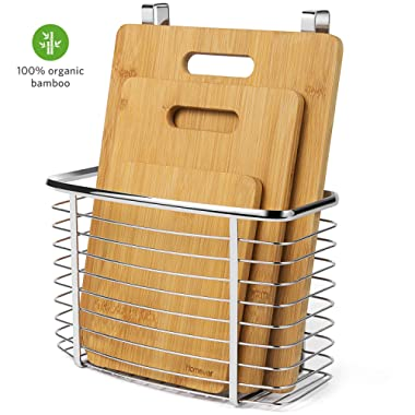 HOMEVER Cutting Board for Kitchen, Bamboo Cutting Boards Set with Large, Medium, Small Sizes Plus Hanging Basket for Organizer