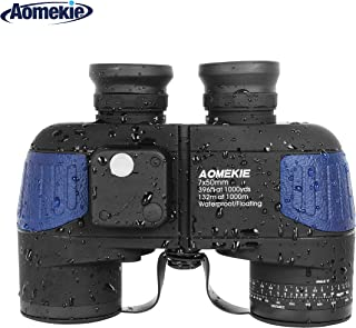 Aomekie Marine Binoculars Night Vision for Adults, 7X50 Military Binoculars Waterproof Fogproof with Compass Rangefinder BAK4 Prism Lens for Navigation Boating Fishing Water Sports Hunting (Army Blue)