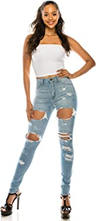 AP Blue Aphrodite High Waisted Jeans for Women - High Rise Skinny Womens Distressed Ripped Jeans