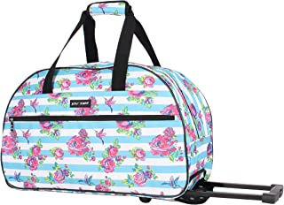 Betsey Johnson Luggage Designer Pattern Suitcase Wheeled Duffel Carry On Bag (One Size, Stripe Floral)