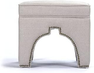 Zentique Marnix Cubic Stool, Natural Linen