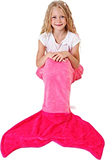 Cuddly Blankets Mermaid Tail Blanket - Super Soft and Warm Polar Fleece Fabric Blanket Perfect for Kids and Teens (Ages 3-12) (Pink and Hot Pink)