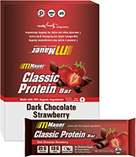 Mauer Sports Nutrition Classic Protein Bar, Dark Chocolate Covered Strawberry, 21g Protein, 2.6 oz, 12-Count