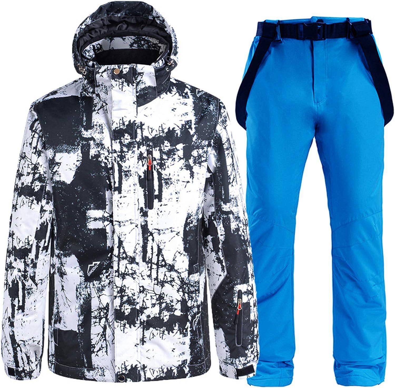 XUJINGJIE Skijacken und Skihose Winddichter Wasserdichter Warmer Skianzug Outdoor Sport Schneeanzug Snowboard Set,D,M