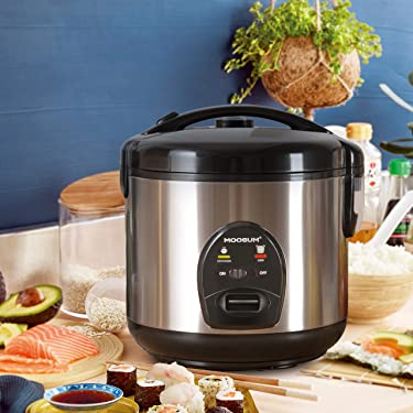 MOOSUM Rice Cooker, Small 5 Cups With Steamer Stainless Steel Asian Japanese Sushi Rice Brown Rice Long Rice Auto Warmer