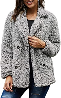 CILKOO Womens Ladies Coats Solid Winter Oversized V Neck Warm Fashion Lapel Fleece Fuzzy Cardigans Jackets Open Front Button Coats with Pockets Outerwears Black Grey US12-14 Large
