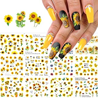 KASTWAVE 12PCS Sunflower Nail Stickers Floral Flower Nail Art Water Decals Transfer Foils for Nails Watermark Small Daisy ...