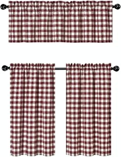 GoodGram 3 Pc. Plaid Country Chic Cotton Blend Kitchen Curtain Tier & Valance Set - Assorted Colors (Wine/Burgundy)