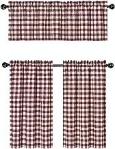 GoodGram 3 Pc. Plaid Country Chic Cotton Blend Kitchen Curtain Tier & Valance Set - Assorted Colors (Wine/Burgundy)