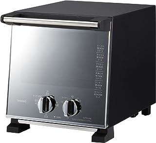 ツインバード スリム オーブントースター ブラック ミラーガラス トースト 2枚 出力切替 (250W~900W) TS-D037 PB