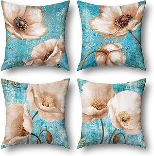 Wyooxoo أغطية وسادة زرقاء 18 × 18 مجموعة من 4، أغطية وسادات رمي الزهور للأريكة، أغطية وسائد تزيينية من نسيج الكتان أغطية و...