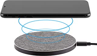 Philips Fabric Wireless Charger, Qi-Certified for iPhone 11, Pro, Max, XR, XS Max, XS, X,8, Plus, 10W Fast-Charging Galaxy S10 S9 S8, Note 10 Note 9 and More, Gray, DLP9035BC/27